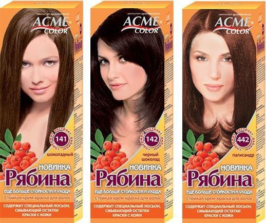 Краска Рябина палитра цветов коричнево шоколадный