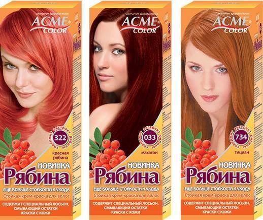 Краска Рябина палитра цветов красный и рыжий