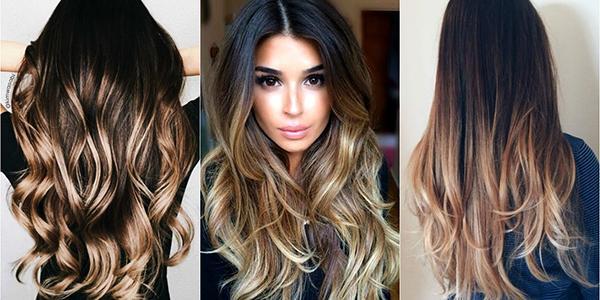 балаяж на черные длиные волосы